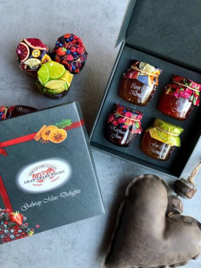 Gran Grans Foods set of 4 miniature jams 100ml each. The selection contains Strawberry, Raspberry, Rhubarb and ginger jam and Blackberry Jam