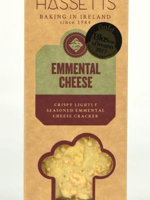 Hassetts Crispy lightly seasoned Emmental Crackers in a box