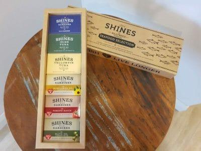 Shines Seafood Gift Box displayed on table