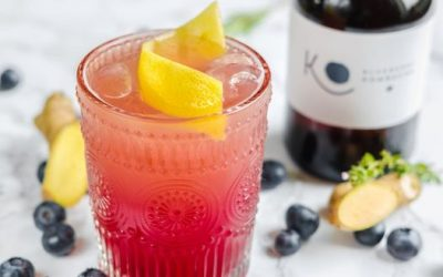 Ginger & Blueberry Kombucha Cocktails