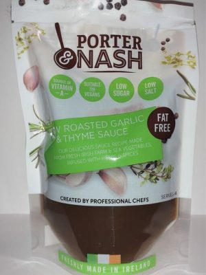 Porter & Nash Slow Roasted Garlic and Thyme Sauce is suitable for vegans